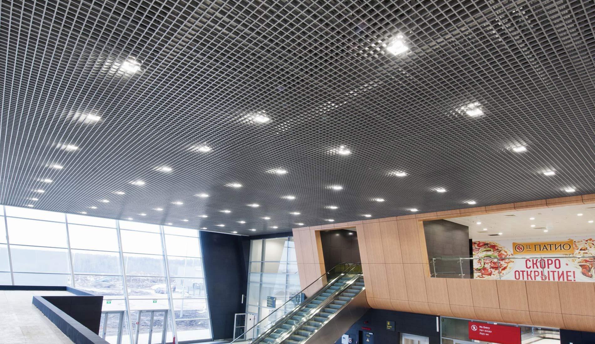 Торговый центр с потолком Грильято